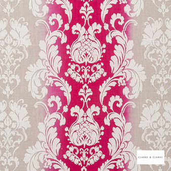 Clarke & Clarke - Camelia Fuchsia    Curtain Fabric - Pink, Purple, Red, Stripe, Traditional, Eclectic, Embroidery, Damask, Print, Fibre Blend
