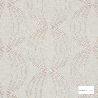 Clarke & Clarke - Carraway Champagne  | Curtain Fabric - Geometric, Embroidery, Whites, Circles, Pattern, Fibre Blend
