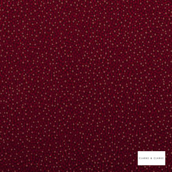 Clarke & Clarke - Cesare Garnet  | Curtain & Upholstery fabric - Red, Plain, Shagreen
