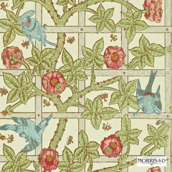 Morris and Co - Trellis DMORTR101  | Wallpaper, Wallcovering - Fire Retardant, Green, Floral, Garden, Botantical, Craftsman, Farmhouse