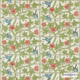 Morris and Co - Trellis DMORTR201  | Curtain & Upholstery fabric - Green, Floral, Garden, Botantical, Traditional, Jacobean, Craftsman, Farmhouse