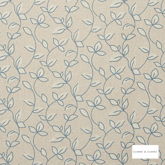 Clarke & Clarke - Chartwell Chambray  | Curtain Fabric - Blue, Floral, Garden, Botantical, Embroidery, Scroll, Fibre Blend
