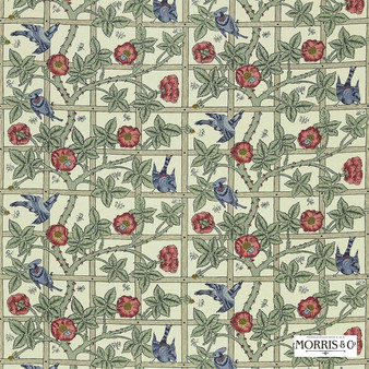 Morris and Co - Trellis DMORTR203  | Curtain & Upholstery fabric - Green, Red, Floral, Garden, Botantical, Art Nouveau, Craftsman, Farmhouse, Natural