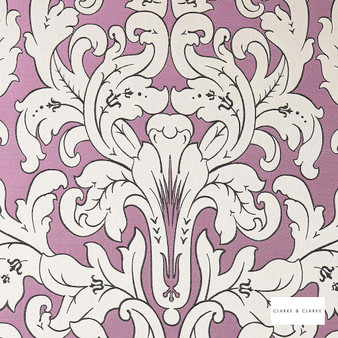Clarke & Clarke - Chateau Violet  | Curtain & Upholstery fabric - Pink, Purple, Stripe, Eclectic