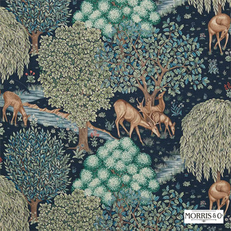 Morris and Co - The Brook 224497  | Curtain & Upholstery fabric - Blue, Floral, Garden, Botantical, Traditional, Jacobean, Animals, Fauna, Toile, Deer
