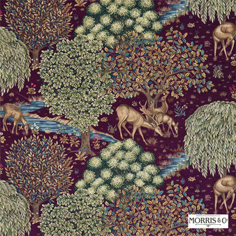 Morris and Co - The Brook 224498  | Curtain & Upholstery fabric - Pink, Purple, Floral, Garden, Botantical, Traditional, Jacobean, Animals, Fauna