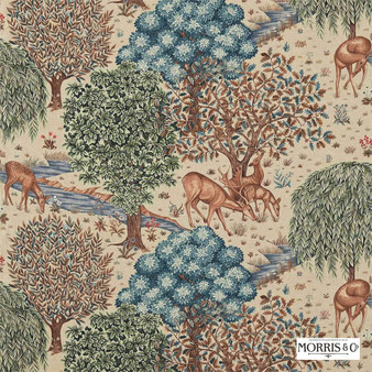 Morris and Co - The Brook 224561  | Curtain & Upholstery fabric - Blue, Floral, Garden, Botantical, Traditional, Jacobean, Animals, Fauna, Toile, Deer