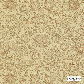 Morris and Co - Sunflower Etch DMORSU101  | Wallpaper, Wallcovering - Fire Retardant, Gold, Yellow, Floral, Garden, Botantical, Traditional, Damask