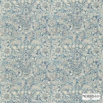 Morris and Co - Sunflower Etch DMORSU203  | Curtain & Upholstery fabric - Blue, Floral, Garden, Botantical, Art Nouveau, Craftsman, Natural