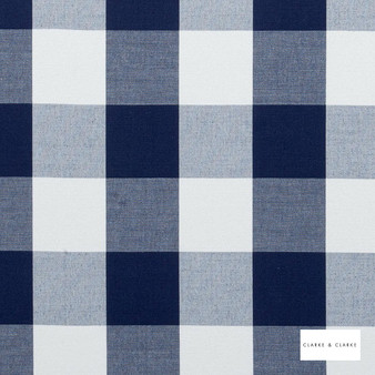 Clarke & Clarke - Dana Denim  | Curtain & Upholstery fabric - Blue, Traditional, Check, Gingham, Natural, Pattern, Natural Fibre