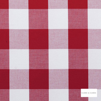 Clarke & Clarke - Dana Red  | Curtain & Upholstery fabric - Red, Traditional, Check, Gingham, Natural, Pattern, Natural Fibre