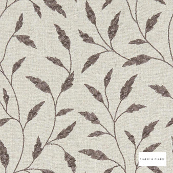 Clarke & Clarke - Fairford Charcoal  | Curtain Fabric - Beige, Floral, Garden, Botantical, Traditional, Fibre Blend