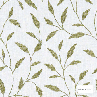 Clarke & Clarke - Fairford Olive  | Curtain Fabric - Green, Floral, Garden, Botantical, Traditional, Fibre Blend