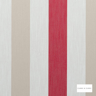 Clarke & Clarke - Ferndale Red  | Curtain & Upholstery fabric - Red, Stripe, Traditional, Natural, Natural Fibre