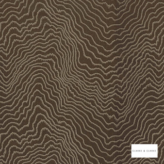 Clarke & Clarke - Fiji Chestnut  | Curtain & Upholstery fabric - Brown, Abstract, Vermicular, Fibre Blend