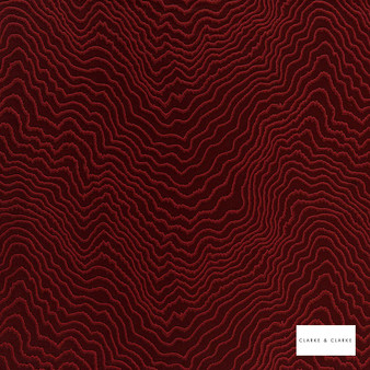 Clarke & Clarke - Fiji Claret  | Curtain & Upholstery fabric - Red, Abstract, Vermicular, Fibre Blend