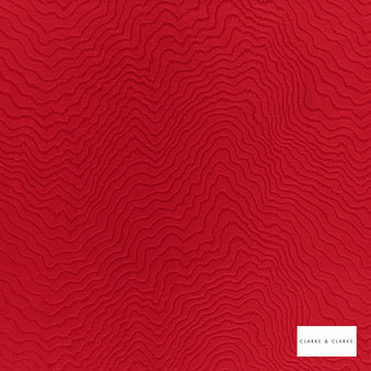 Clarke & Clarke - Fiji Ruby  | Curtain & Upholstery fabric - Red, Abstract, Vermicular, Fibre Blend