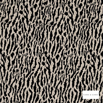 Clarke & Clarke - Gautier Charcoal 2  | Curtain & Upholstery fabric - Black, Charcoal, Abstract, Vermicular, Fibre Blend