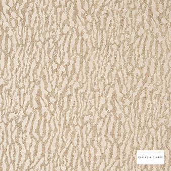 Clarke & Clarke - Gautier Natural  | Curtain & Upholstery fabric - Beige, Abstract, Vermicular, Camouflage, Organic, Fibre Blend