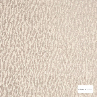 Clarke & Clarke - Gautier Stone  | Curtain & Upholstery fabric - Beige, Abstract, Vermicular, Camouflage, Organic, Fibre Blend