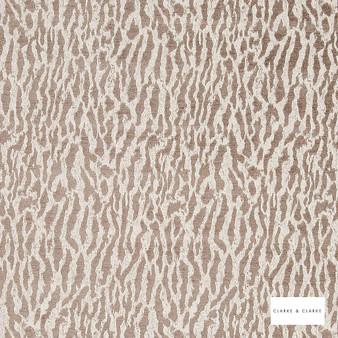 Clarke & Clarke - Gautier Taupe 2  | Curtain & Upholstery fabric - Beige, Abstract, Vermicular, Camouflage, Organic, Fibre Blend