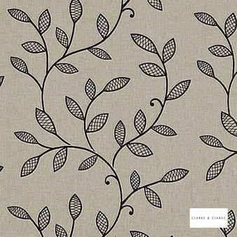 Clarke & Clarke - Hetton Charcoal  | Curtain Fabric - Beige, Floral, Garden, Botantical, Traditional, Embroidery, Fibre Blend