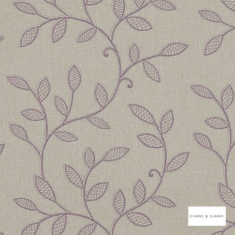 Clarke & Clarke - Hetton Heather  | Curtain Fabric - Pink, Purple, Floral, Garden, Botantical, Traditional, Embroidery, Fibre Blend