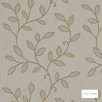 Clarke & Clarke - Hetton Natural  | Curtain Fabric - Beige, Floral, Garden, Botantical, Traditional, Embroidery, Fibre Blend