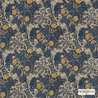 Morris and Co - Morris and Co - Seaweed 224470  | Curtain & Upholstery fabric - Blue, Floral, Garden, Botantical, Art Nouveau, Craftsman, Natural