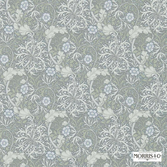 Morris and Co - Morris and Co - Seaweed 214715  | Wallpaper, Wallcovering - Fire Retardant, Grey, Floral, Garden, Botantical, Transitional, Craftsman