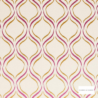 Clarke & Clarke - Isfahan Berry  | Curtain Fabric - Pink, Purple, Geometric, Embroidery, Ogee, Pattern, Fibre Blend
