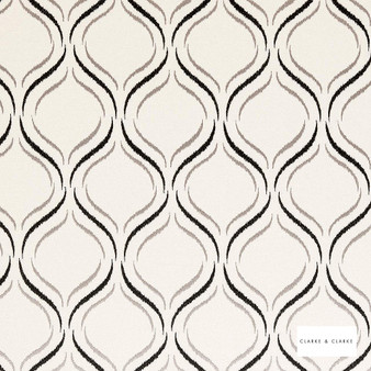 Clarke & Clarke - Isfahan Pebble  | Curtain Fabric - Beige, Geometric, Embroidery, Ogee, Pattern, Fibre Blend