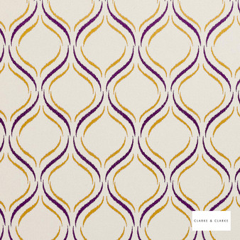 Clarke & Clarke - Isfahan Violet  | Curtain Fabric - Pink, Purple, Geometric, Embroidery, Ogee, Pattern, Fibre Blend