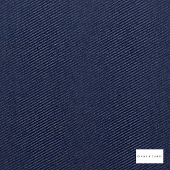 Clarke & Clarke - Jackson Denim  | Curtain & Upholstery fabric - Blue, Natural, Plain, Natural Fibre