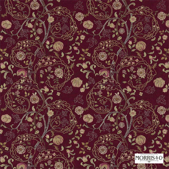 Morris and Co - Mary Isobel Embroideries 230338  | Curtain Fabric - Red, Floral, Garden, Botantical, Traditional, Jacobean, Embroidery, Craftsman