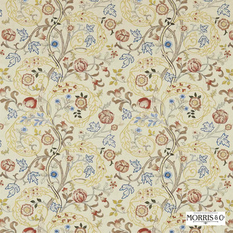 Morris and Co - Mary Isobel Embroideries 230340  | Curtain Fabric - Gold, Yellow, Floral, Garden, Botantical, Traditional, Jacobean, Embroidery