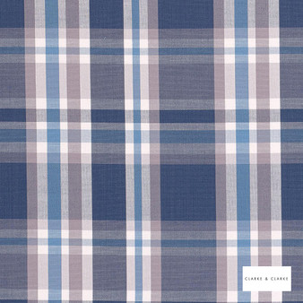 Clarke & Clarke - Jess Blue  | Curtain & Upholstery fabric - Blue, Traditional, Check, Natural, Plaid, Pattern, Natural Fibre