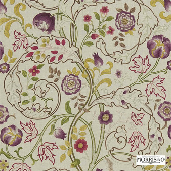 Morris and Co - Mary Isobel DMCOMA201  | Curtain & Upholstery fabric - Brown, Pink, Purple, Floral, Garden, Botantical, Traditional, Jacobean, Natural