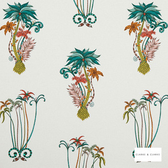 Clarke & Clarke - Jungle Palms Jungle  | Curtain & Upholstery fabric - Green, Floral, Garden, Botantical, Natural, Print, Natural Fibre