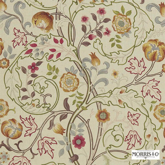 Morris and Co - Mary Isobel DMCOMA203  | Curtain & Upholstery fabric - Brown, Gold, Yellow, Floral, Garden, Botantical, Traditional, Jacobean, Natural