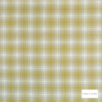 Clarke & Clarke - Kahlo Check Citron  | Curtain & Upholstery fabric - Gold, Yellow, Traditional, Check, Gingham, Pattern, Fibre Blend