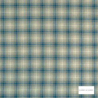 Clarke & Clarke - Kahlo Check Denim  | Curtain & Upholstery fabric - Blue, Traditional, Check, Gingham, Pattern, Fibre Blend