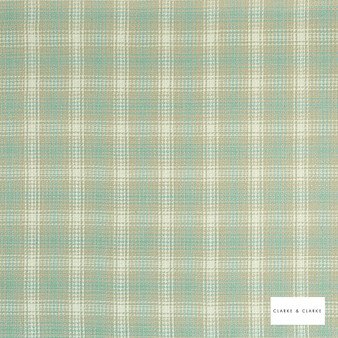 Clarke & Clarke - Kahlo Check Duckegg  | Curtain & Upholstery fabric - Green, Traditional, Check, Gingham, Pattern, Fibre Blend
