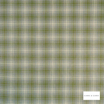 Clarke & Clarke - Kahlo Check Olive  | Curtain & Upholstery fabric - Green, Traditional, Check, Gingham, Pattern, Fibre Blend