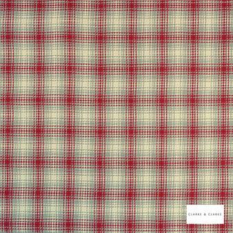 Clarke & Clarke - Kahlo Check Rouge  | Curtain & Upholstery fabric - Red, Traditional, Check, Gingham, Pattern, Fibre Blend