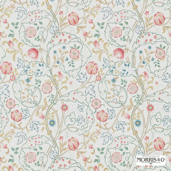 Morris and Co - Mary Isobel 214728  | Wallpaper, Wallcovering - Fire Retardant, Red, Floral, Garden, Botantical, Traditional, Jacobean, Craftsman