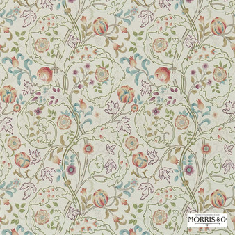 Morris and Co - Mary Isobel 214729    Wallpaper, Wallcovering - Fire Retardant, Red, Floral, Garden, Botantical, Traditional, Jacobean, Craftsman