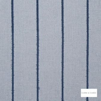 Clarke & Clarke - Knowsley Chambray  | Curtain Fabric - Blue, Stripe, Transitional, Fibre Blend
