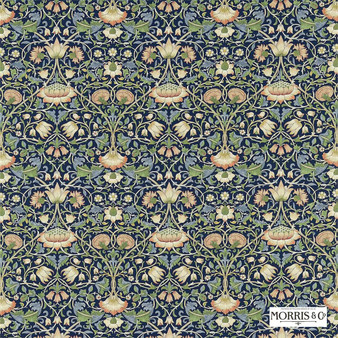 Morris and Co - Lodden 222521  | Curtain & Upholstery fabric - Blue, Floral, Garden, Botantical, Traditional, Art Nouveau, Craftsman, Damask, Natural