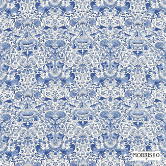 Morris and Co - Lodden 222523  | Curtain & Upholstery fabric - Blue, Floral, Garden, Botantical, Traditional, Art Nouveau, Craftsman, Damask, Natural